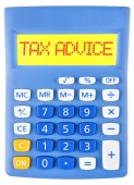 Calculator with TAX ADVICE on display — Stock Photo
