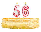 Birthday cake with candles number fifty six — Stock Photo