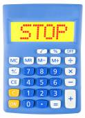 Calculator met Stop tentoongesteld geïsoleerd — Stockfoto