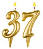 Birthday candles number thirty seven isolated — Stockfoto