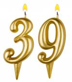 Birthday candles number thirty nine isolated — Stock Photo
