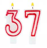 Birthday candles number thirty seven — Stock fotografie