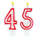Birthday candles number forty five isolated — Stock fotografie