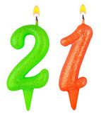 Birthday candles number twenty one isolated — Foto de Stock