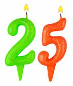 Birthday candles number twenty five isolated — Stock Photo