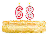 Birthday cake with candles number sixty eight — Stock fotografie