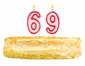 Birthday cake with candles number sixty nine — Stock fotografie