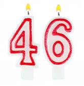 Birthday candles number forty six isolated — Stock fotografie