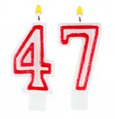 Birthday candles number forty seven isolated — Stock fotografie