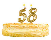 Birthday cake with candles number fifty eight — Stock fotografie