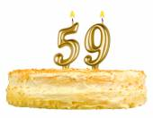 Birthday cake with candles number fifty nine — Stockfoto