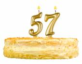Birthday cake with candles number fifty seven — Foto de Stock