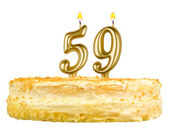 Birthday cake with candles number fifty nine — Stock Photo