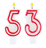 Birthday candles number fifty three isolated — Foto de Stock