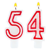 Birthday candles number fifty four isolated — Foto de Stock