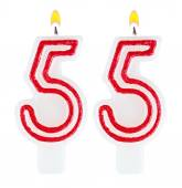 Birthday candles number fifty five isolated — Foto de Stock
