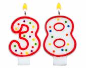 Birthday candles number thirty eight — Stock Photo