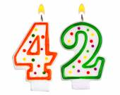 Birthday candles number forty two — Stock Photo