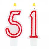Birthday candles number fifty one isolated — Stockfoto