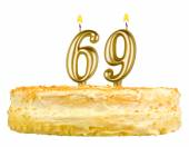 Birthday cake with candles number sixty nine — Stock Photo