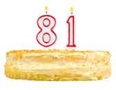 Birthday cake with candles number eighty one — Foto de Stock