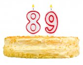 Birthday cake with candles number eighty nine — Stockfoto