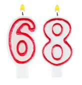 Birthday candles number sixty eight — Stock fotografie