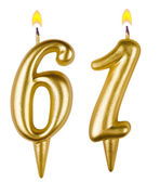 Birthday candles number sixty one — Stockfoto