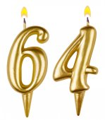 Birthday candles number sixty four — Stock fotografie