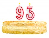 Birthday cake with candles number ninety three — Foto de Stock