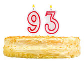 Birthday cake with candles number ninety three — Stockfoto