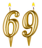 Birthday candles number sixty nine — Stock Photo