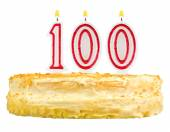 Birthday cake with candles number one hundred — Stockfoto