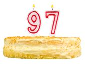 Birthday cake with candles number ninety seven — Stok fotoğraf