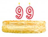 Birthday cake with candles number ninety nine — Stock Photo