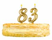 Birthday cake with candles number eighty three — Stok fotoğraf