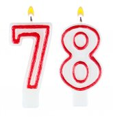 Birthday candles number seventy eight — Stock Photo