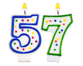 Birthday candles number fifty seven — Stockfoto