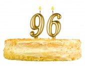Tort urodzinowy z numerem świece dziewięćdziesiąt sześć — Zdjęcie stockowe