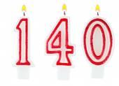 Świece numer jeden sto czterdzieści — Zdjęcie stockowe