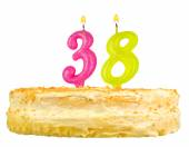 Birthday cake with candles number thirty eight — Stockfoto