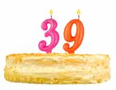 Birthday cake with candles number thirty nine — Stockfoto