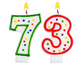 Birthday candles number seventy three — Stock Photo