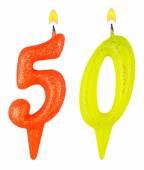 Świeczki na urodzinowym torcie numer pięćdziesiąt — Zdjęcie stockowe