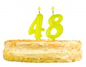 Birthday cake with candles number forty eight — Stock Photo