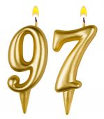 Birthday candles number ninety seven — Stock Photo