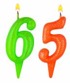 Birthday candles number sixty five — Stock Photo