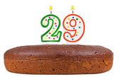 Birthday cake with candles number twenty nine  — Stock Photo