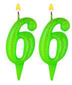Birthday candles number sixty six — Foto Stock