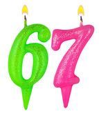 Birthday candles number sixty seven — Stock Photo